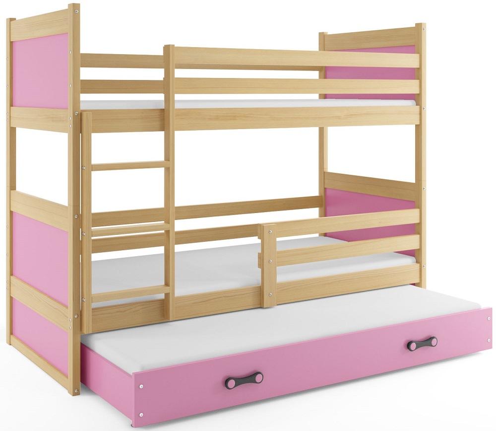 BMS Detská poschodová posteľ s prístelkou RICO 3 / BOROVICA 160x80 cm Farba: Ružová - do vypredania zásob