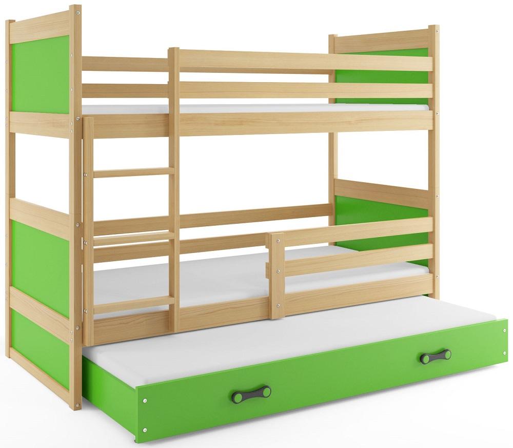 BMS Detská poschodová posteľ s prístelkou RICO 3 / BOROVICA 160x80 cm Farba: Zelená