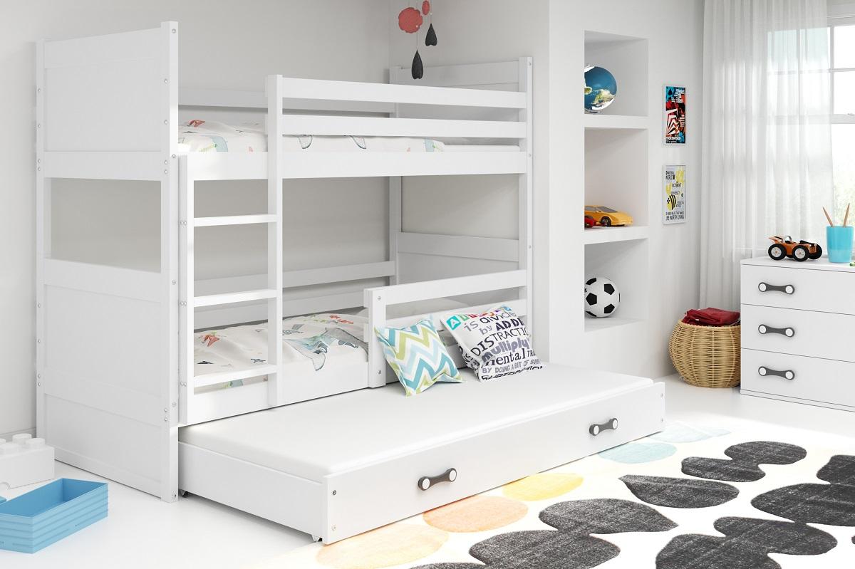 BMS Detská poschodová posteľ s prístelkou RICO 3 / BIELA 190x80 cm Farba: Biela