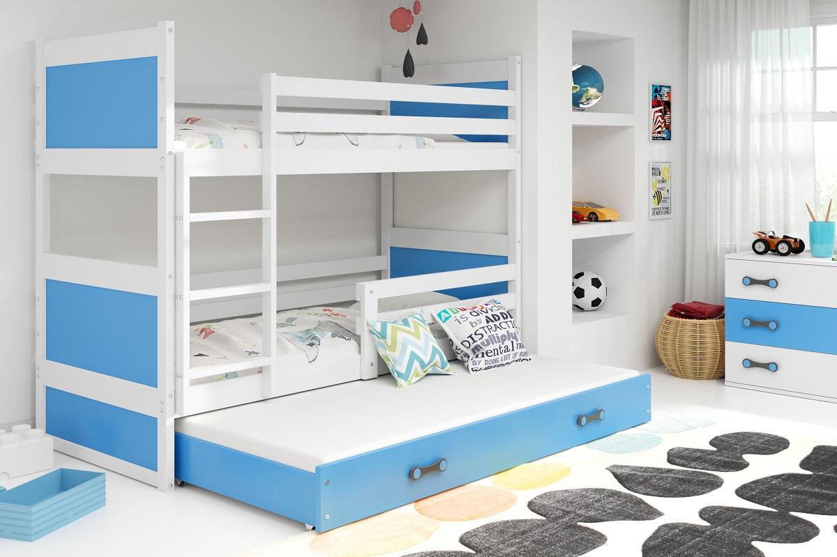 BMS Detská poschodová posteľ s prístelkou RICO 3 / BIELA 190x80 cm Farba: Modrá