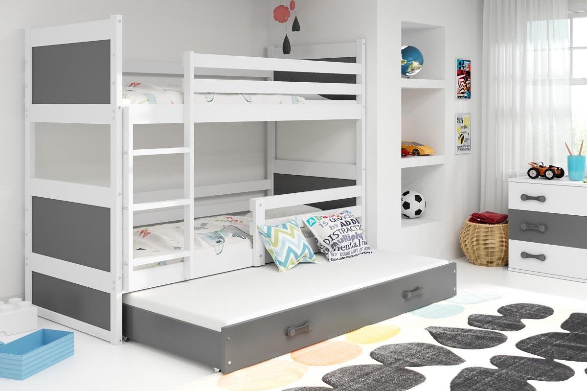 BMS Detská poschodová posteľ s prístelkou RICO 3 / BIELA 190x80 cm Farba: Sivá