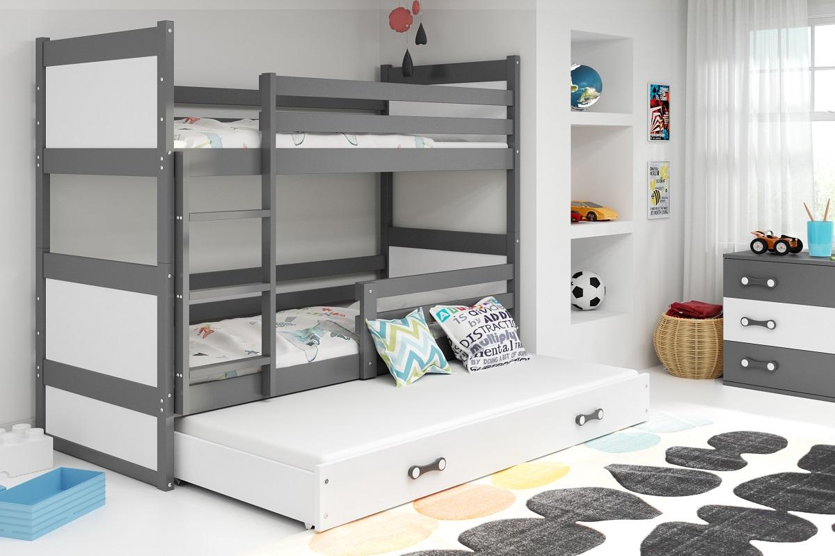 BMS Detská poschodová posteľ s prístelkou RICO 3 / SIVÁ 190x80 cm Farba: Biela