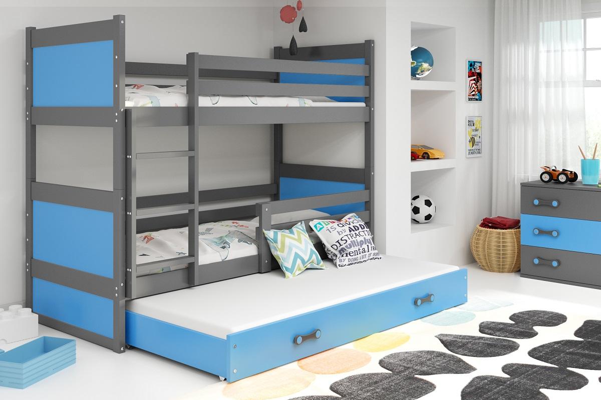 BMS Detská poschodová posteľ s prístelkou RICO 3 / SIVÁ 190x80 cm Farba: Modrá