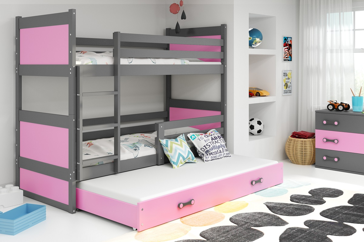 BMS Detská poschodová posteľ s prístelkou RICO 3 / SIVÁ 190x80 cm Farba: Ružová
