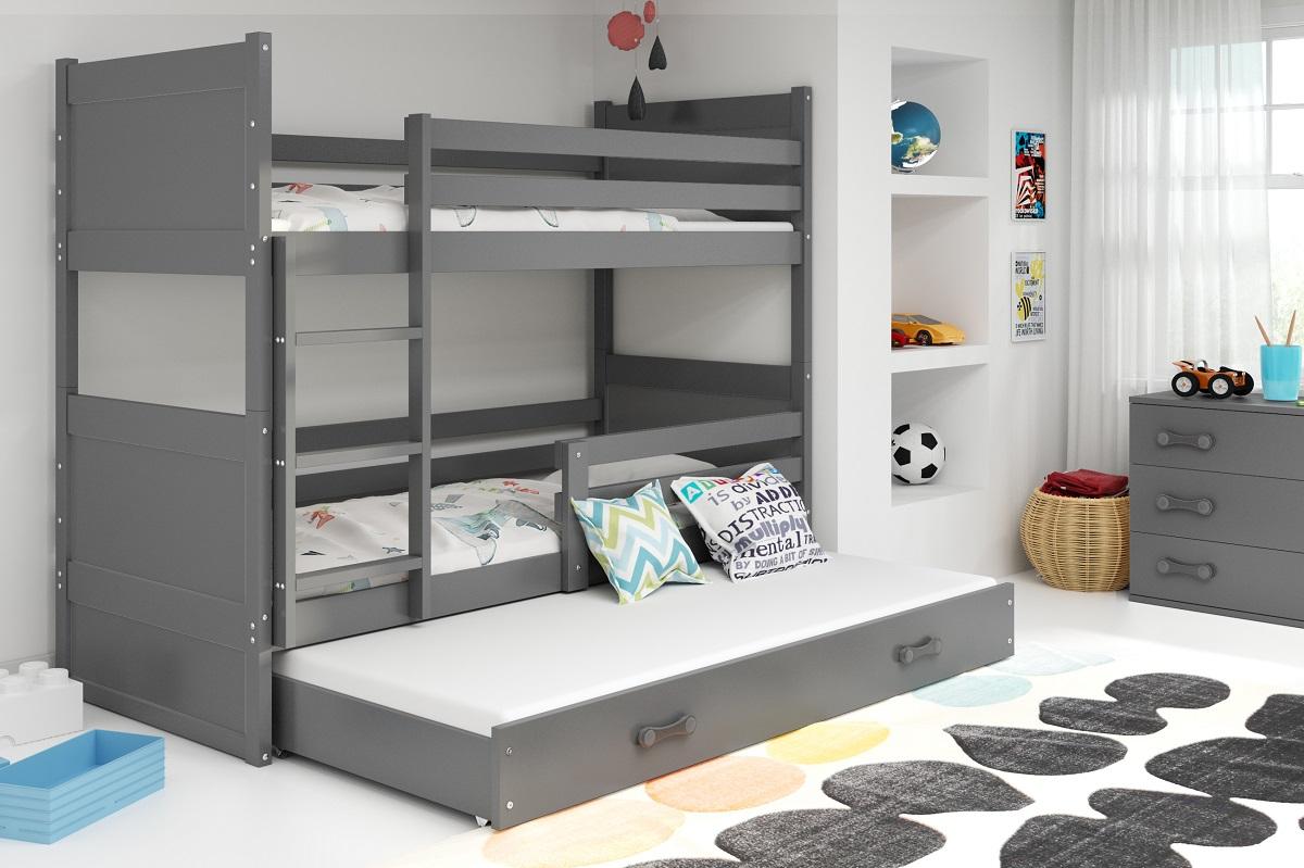 BMS Detská poschodová posteľ s prístelkou RICO 3 / SIVÁ 190x80 cm Farba: Sivá