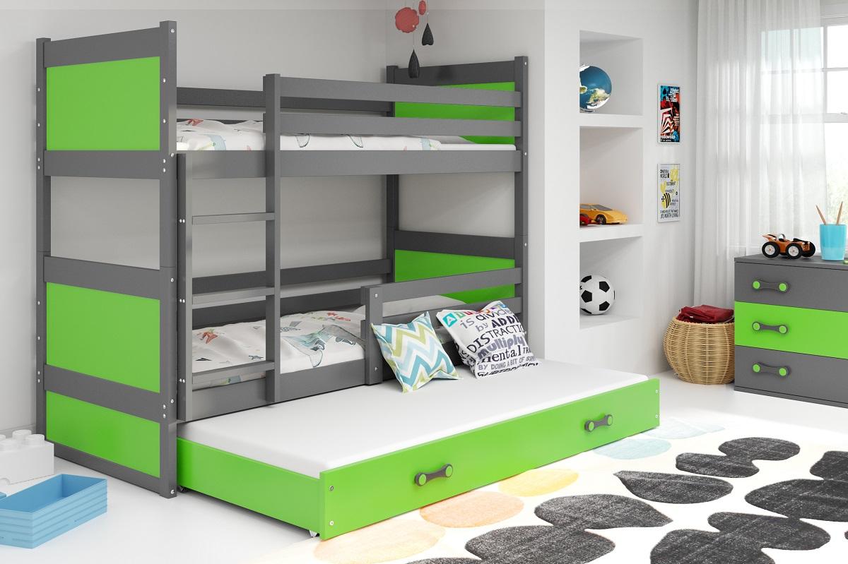 BMS Detská poschodová posteľ s prístelkou RICO 3 / SIVÁ 190x80 cm Farba: Zelená