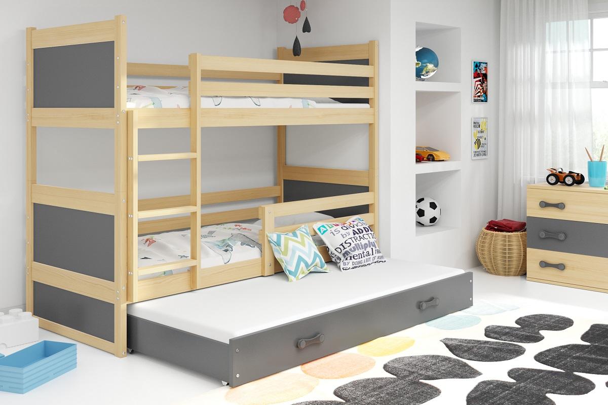 BMS Detská poschodová posteľ s prístelkou RICO 3 / BOROVICA 190x80 cm Farba: Sivá