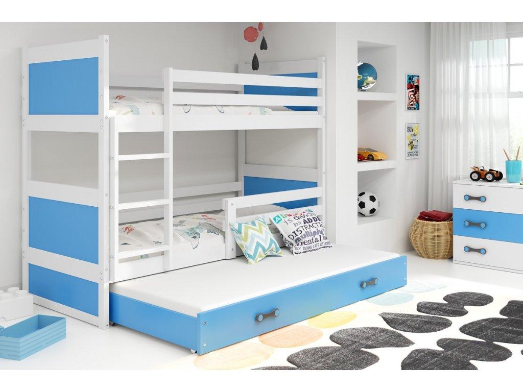 BMS Detská poschodová posteľ s prístelkou RICO 3 / BIELA 200x90 cm Farba: biela/biela