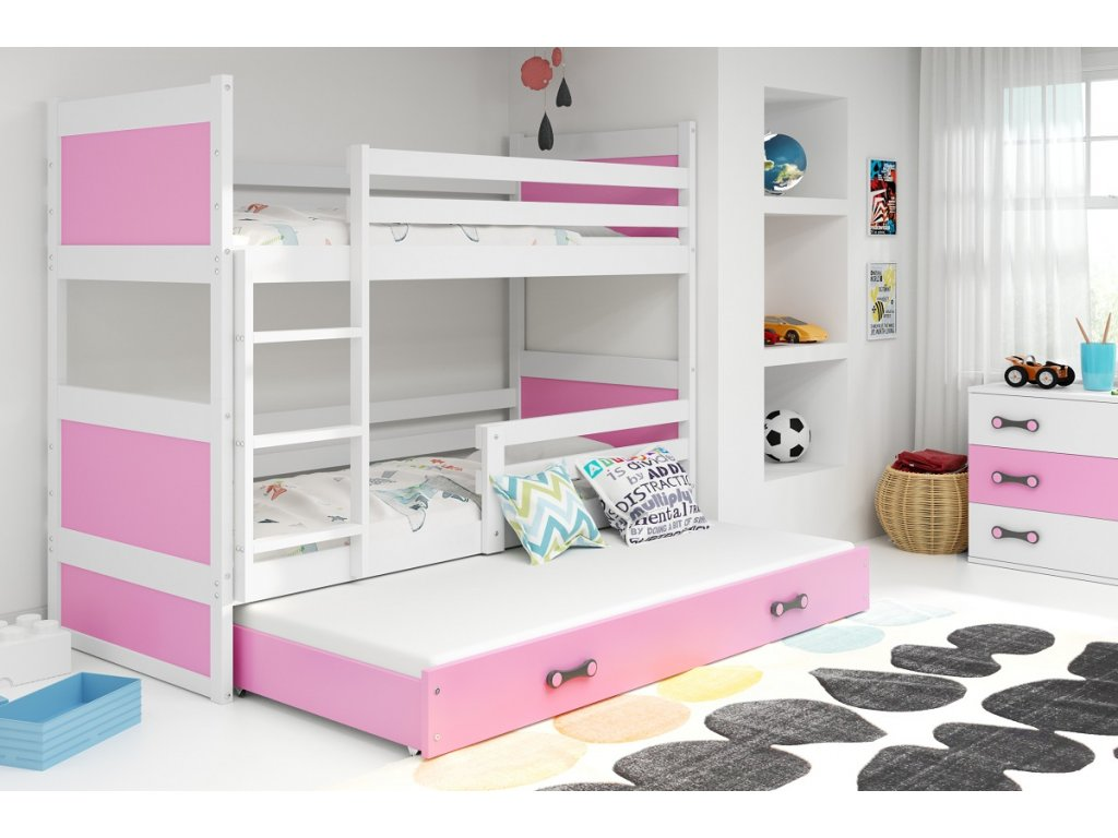 BMS Detská poschodová posteľ s prístelkou RICO 3 / BIELA 200x90 cm Farba: biela/modrá