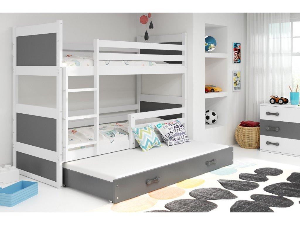 BMS Detská poschodová posteľ s prístelkou RICO 3 / BIELA 200x90 cm Farba: biela/ružová