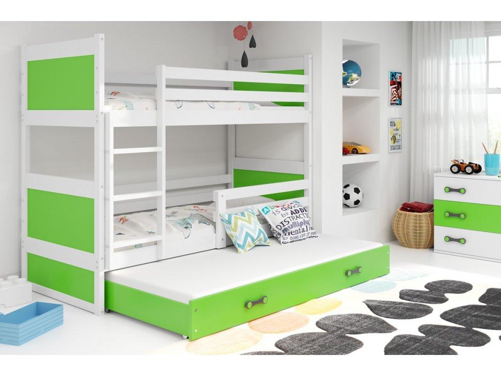 BMS Detská poschodová posteľ s prístelkou RICO 3 / BIELA 200x90 cm Farba: Biela/sivá