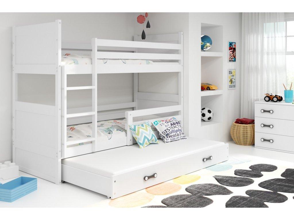 BMS Detská poschodová posteľ s prístelkou RICO 3 / BIELA 200x90 cm Farba: Fialová