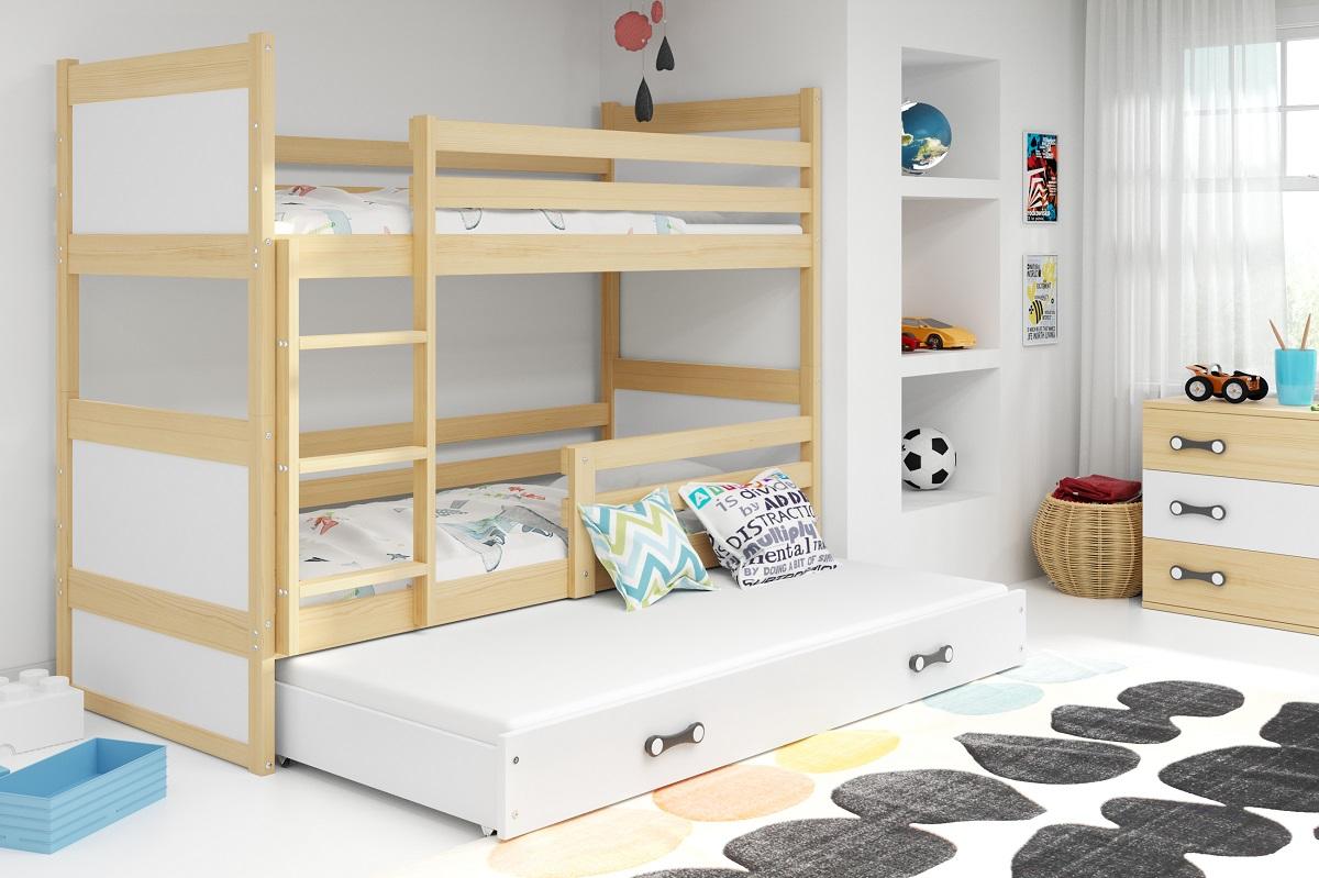 BMS Detská poschodová posteľ s prístelkou RICO 3 / BOROVICA 200x90 cm Farba: Biela