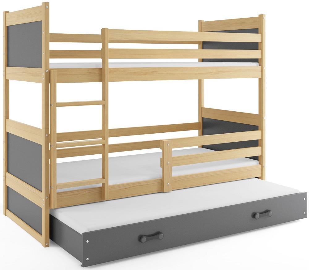 BMS Detská poschodová posteľ s prístelkou RICO 3 / BOROVICA 200x90 cm Farba: Sivá