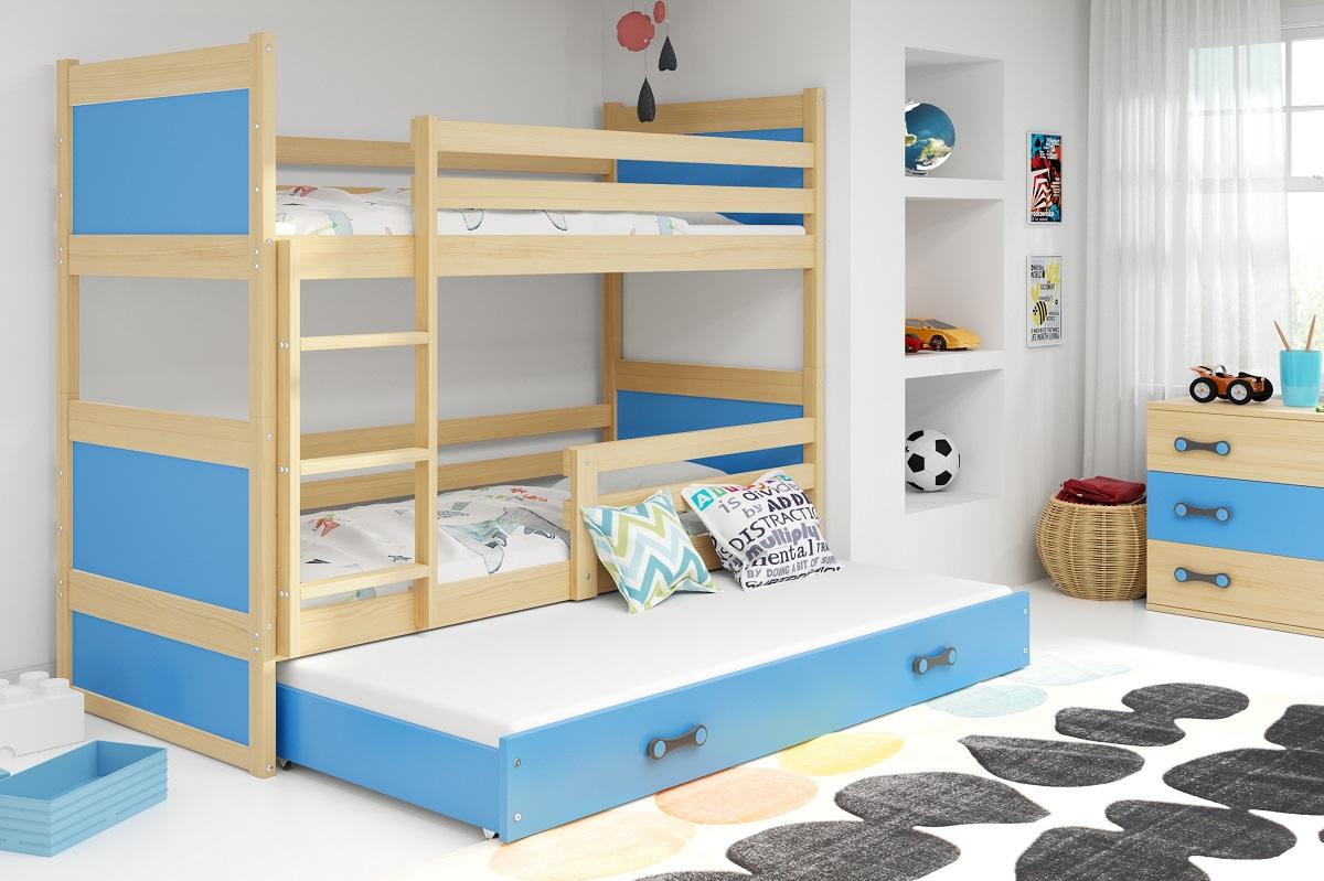 BMS Detská poschodová posteľ s prístelkou RICO 3 / BOROVICA 200x90 cm Farba: Modrá