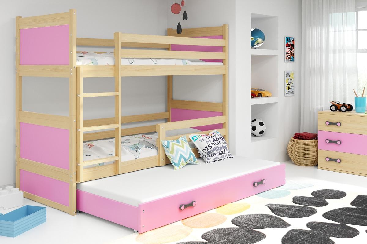 BMS Detská poschodová posteľ s prístelkou RICO 3 / BOROVICA 200x90 cm Farba: Ružová