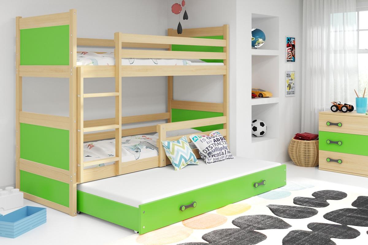 BMS Detská poschodová posteľ s prístelkou RICO 3 / BOROVICA 200x90 cm Farba: Zelená