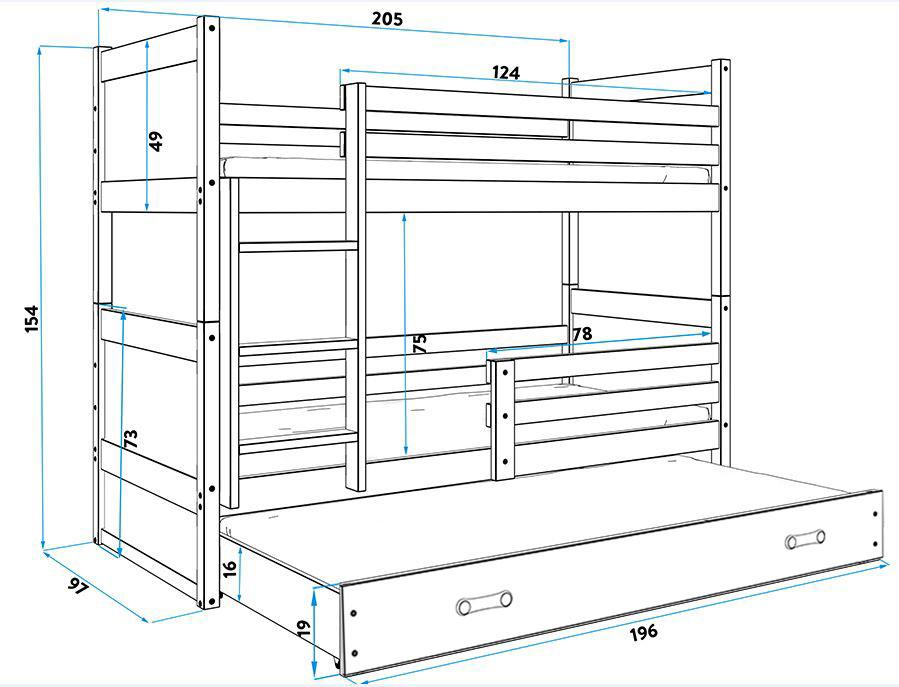 BMS Detská poschodová posteľ s prístelkou RICO 3 / BOROVICA 200x90 cm Farba: Fialová