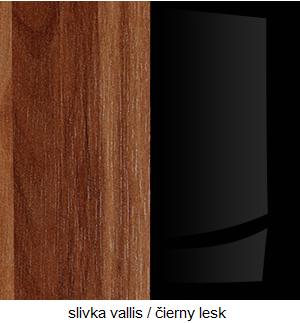 WIP Nadstavec na TV skrinku HUGO 06 Farba: Slivka Vallis / čierny lesk