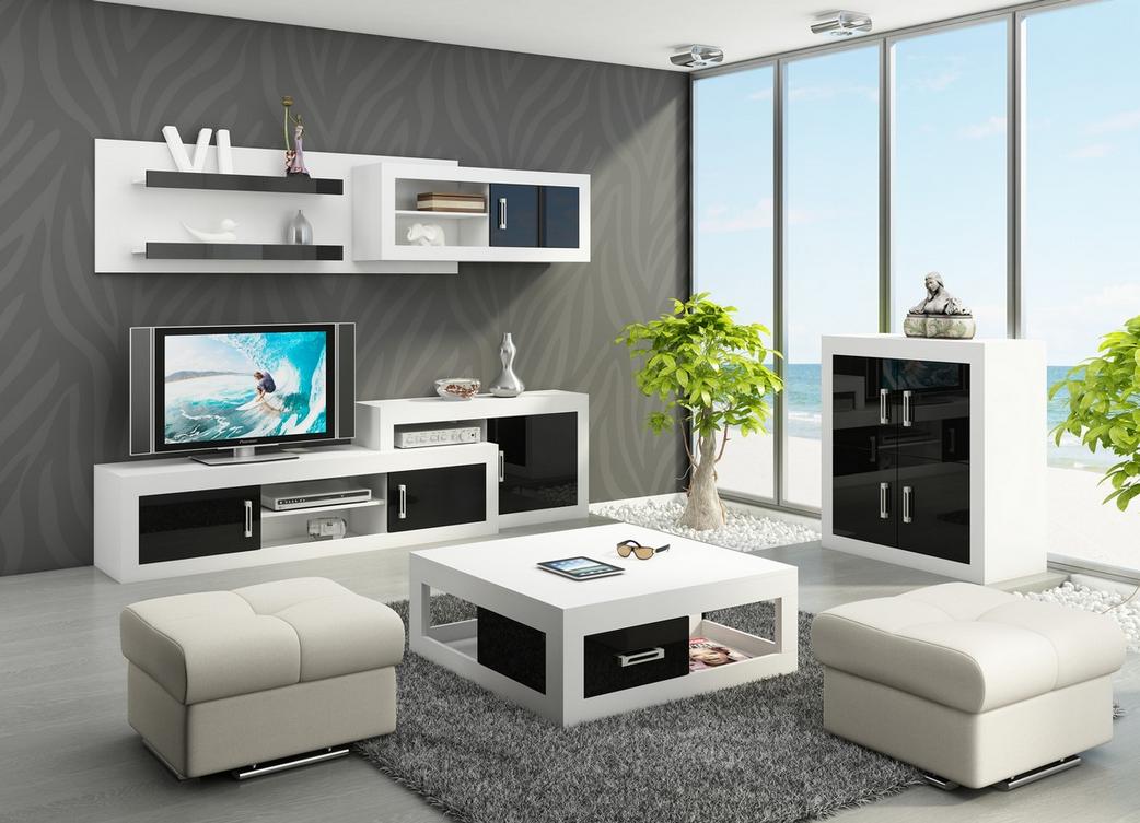 WIP Obývacia stena VERIN 1 Farba: Biela / čierny lesk