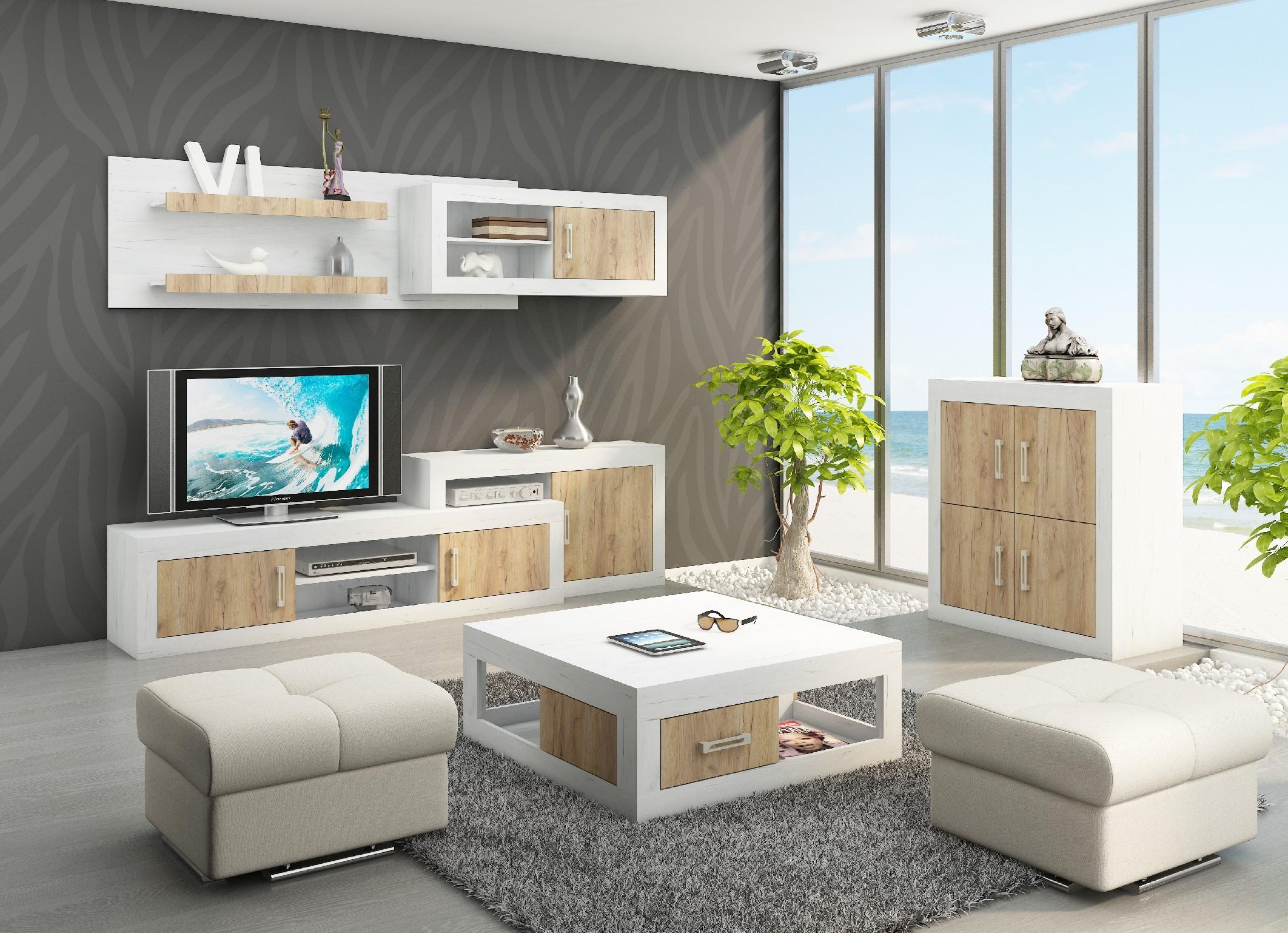 WIP Obývacia stena VERIN 1 Farba: craft zlatý / craft biely