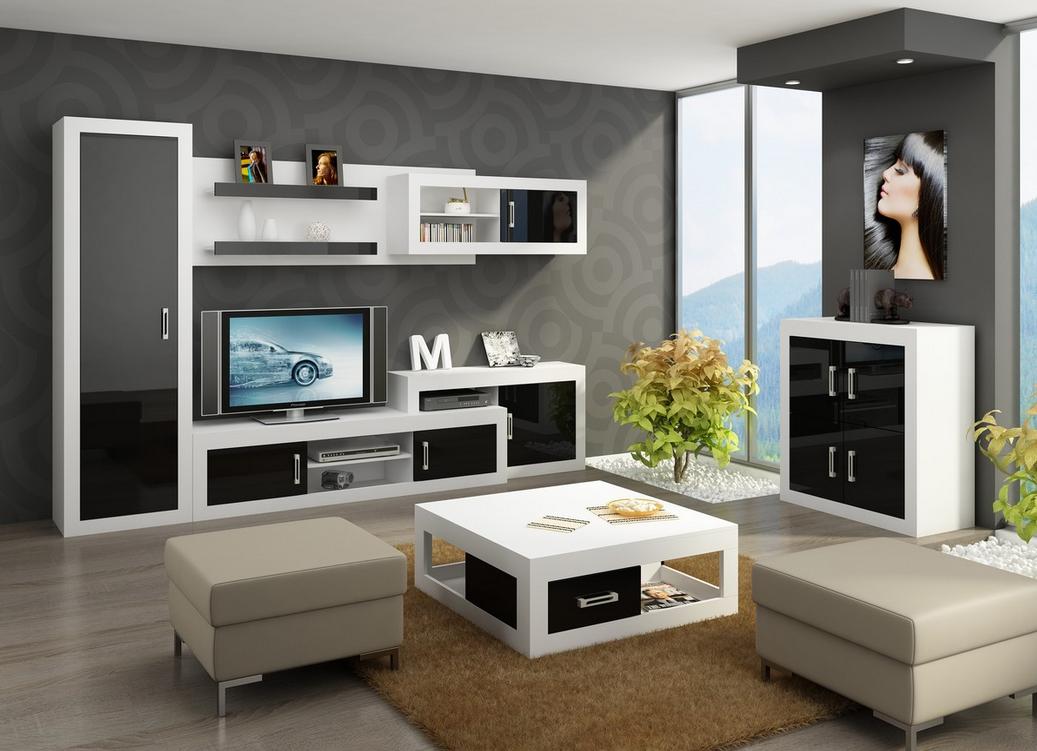 WIP Obývacia stena VERIN 2 Farba: Biela / čierny lesk