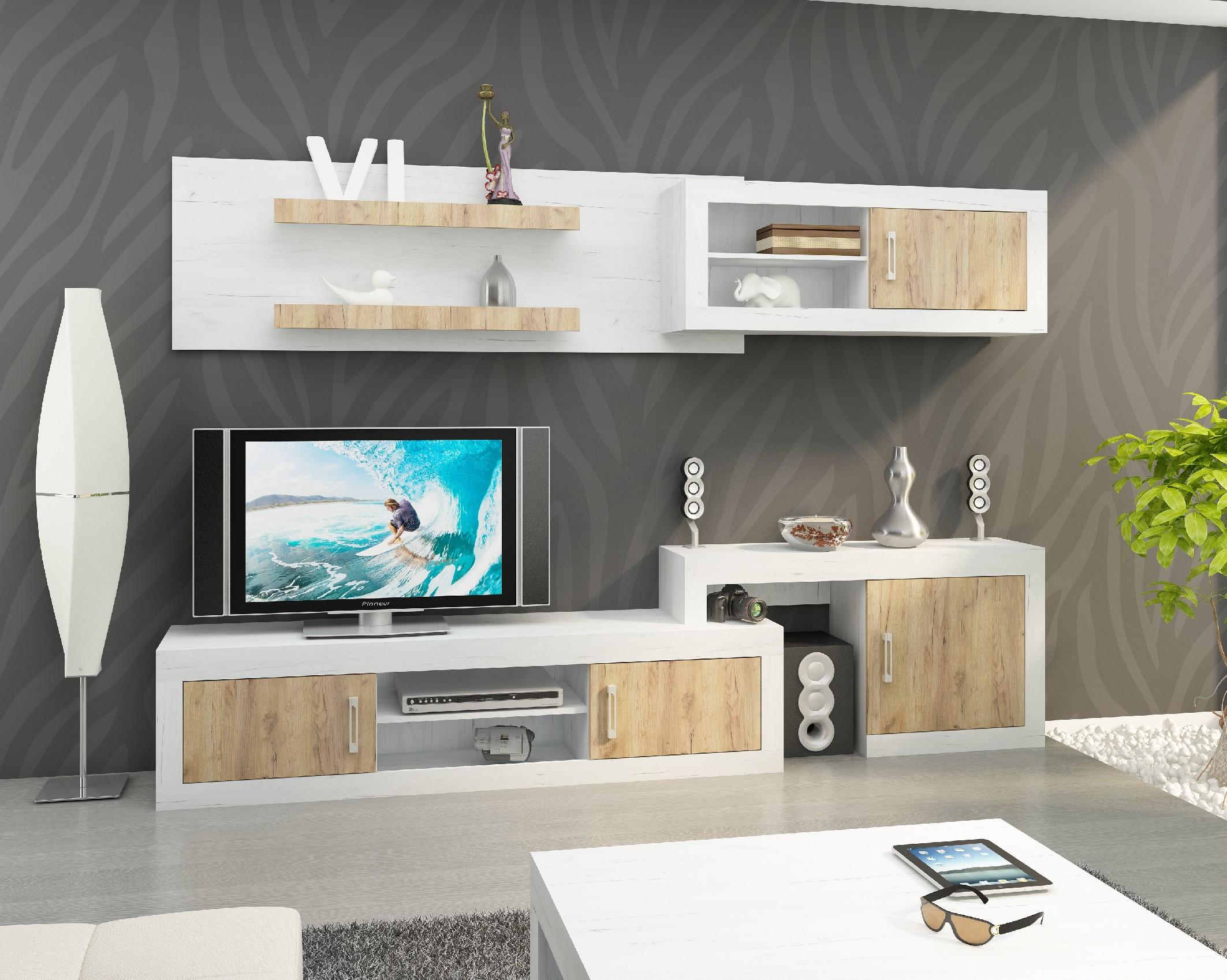 WIP Obývacia stena VERIN 2 Farba: Craft biely / craft zlatý