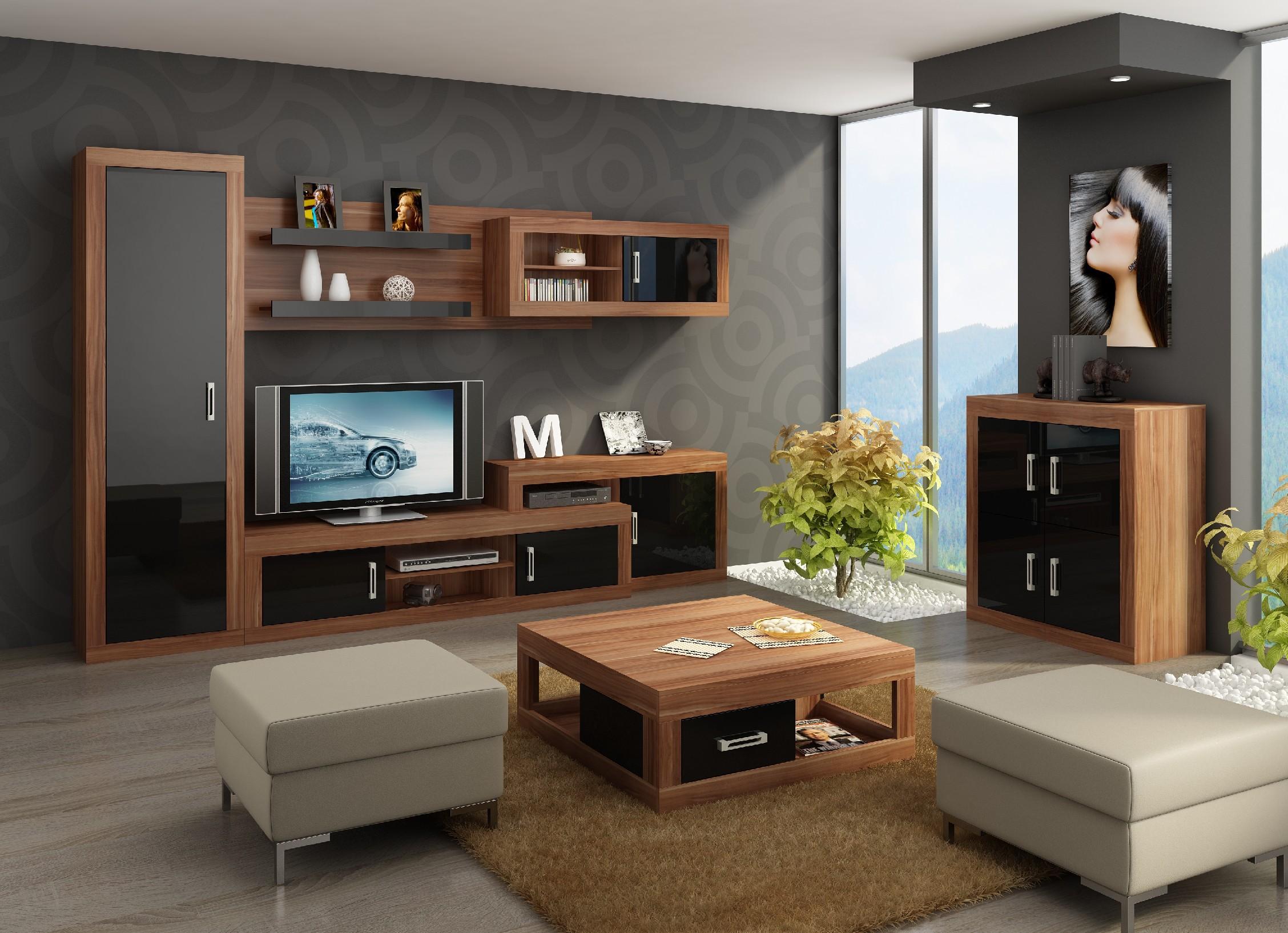 WIP Obývacia stena VERIN 3 Farba: Slivka Vallis / čierny lesk