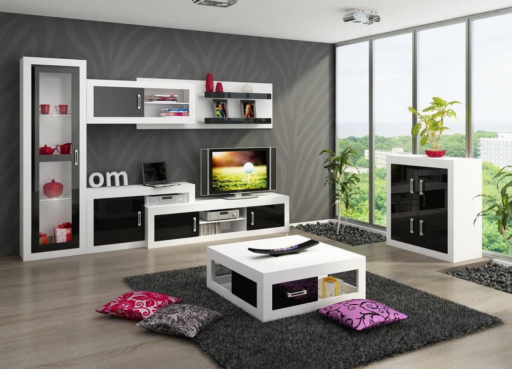 WIP Obývacia stena VERIN 3 Farba: Biela / čierny lesk