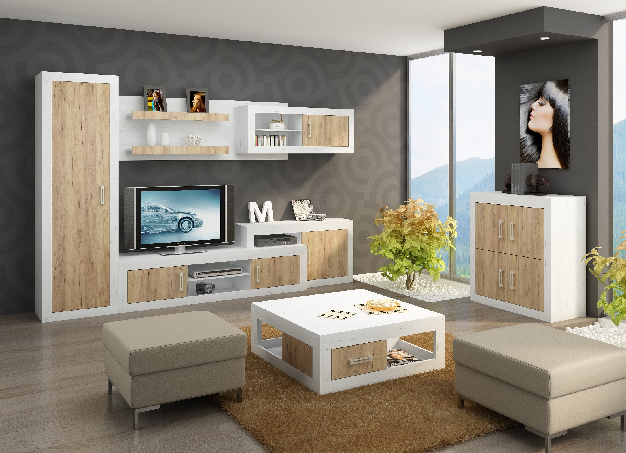 WIP Obývacia stena VERIN 3 Farba: Craft biely / craft zlatý