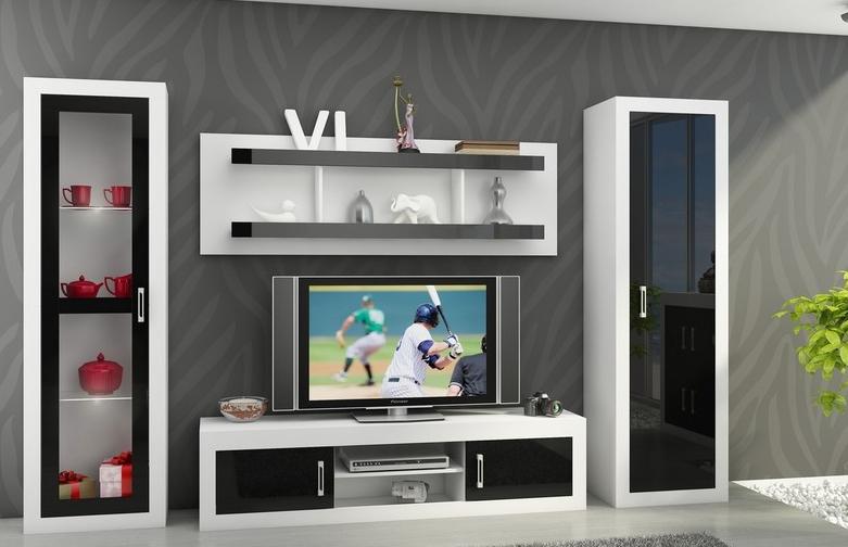 WIP Obývacia stena VERIN 4 Farba: Biela / čierny lesk