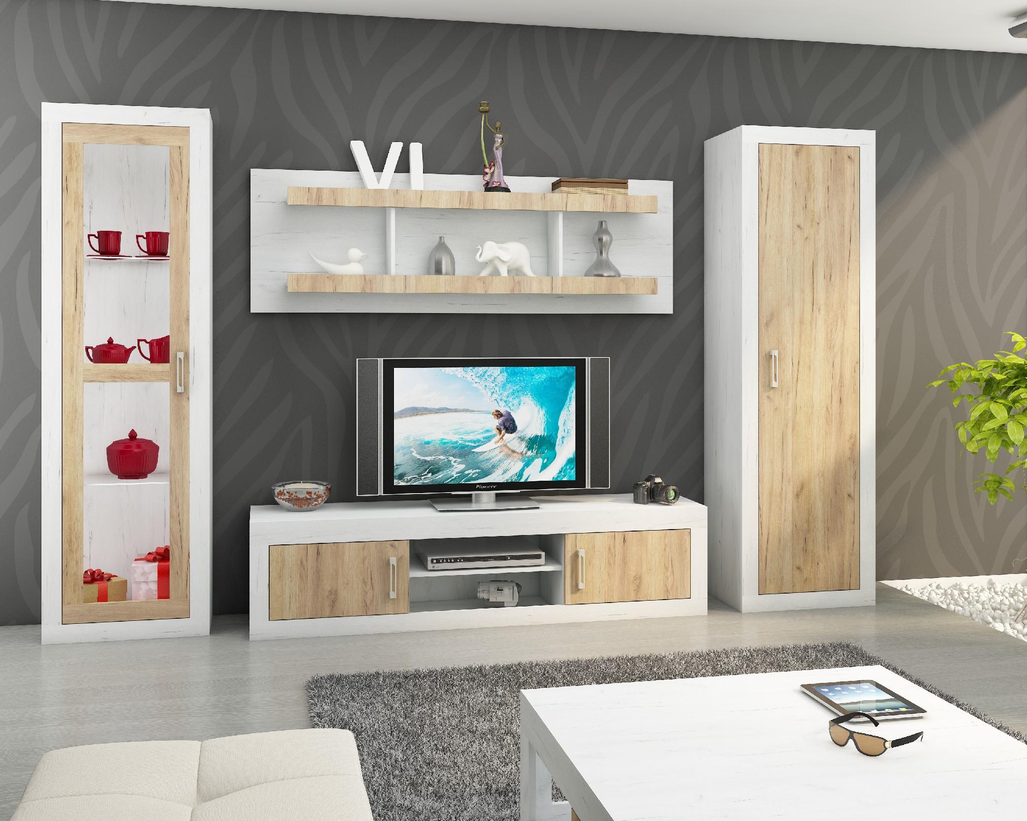 WIP Obývacia stena VERIN 4 Farba: Craft biely / craft zlatý