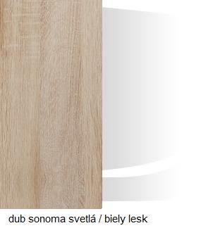 WIP Komoda VERIN 01 Farba: Dub sonoma svetlá / biely lesk