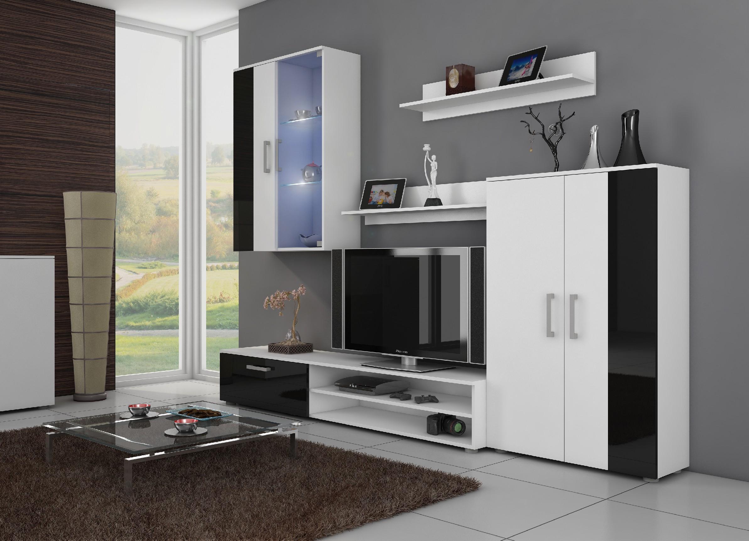 WIP Obývacia stena STELLA Farba: Biela / čierny lesk
