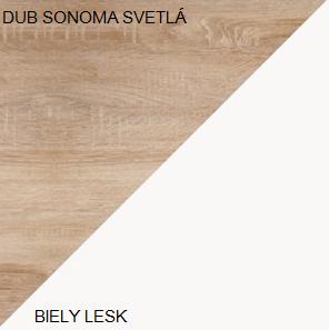 WIP Šatníková skriňa STELLA STE-05 Farba: Dub sonoma svetlá / biely lesk