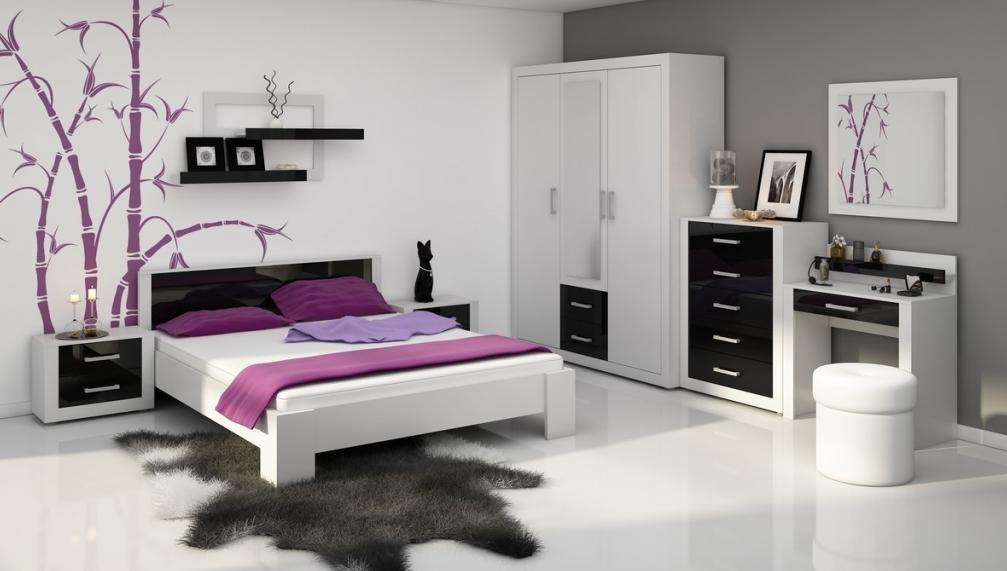 WIP Spálňa VIKI Farba: Biela / čierny lesk