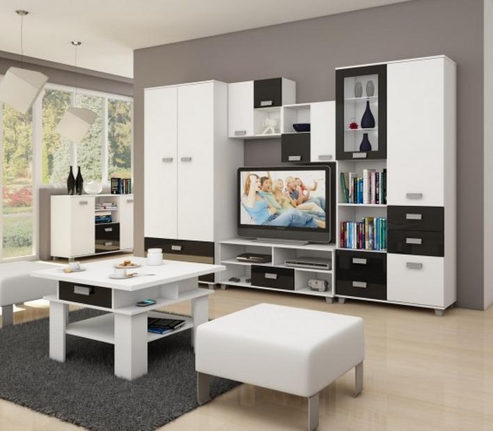 WIP Obývacia stena SOLO I Farba: Biela / čierny lesk