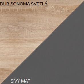 WIP Závesná skrinka SOLO SOL 04 Farba: Dub sonoma svetlá / sivý mat