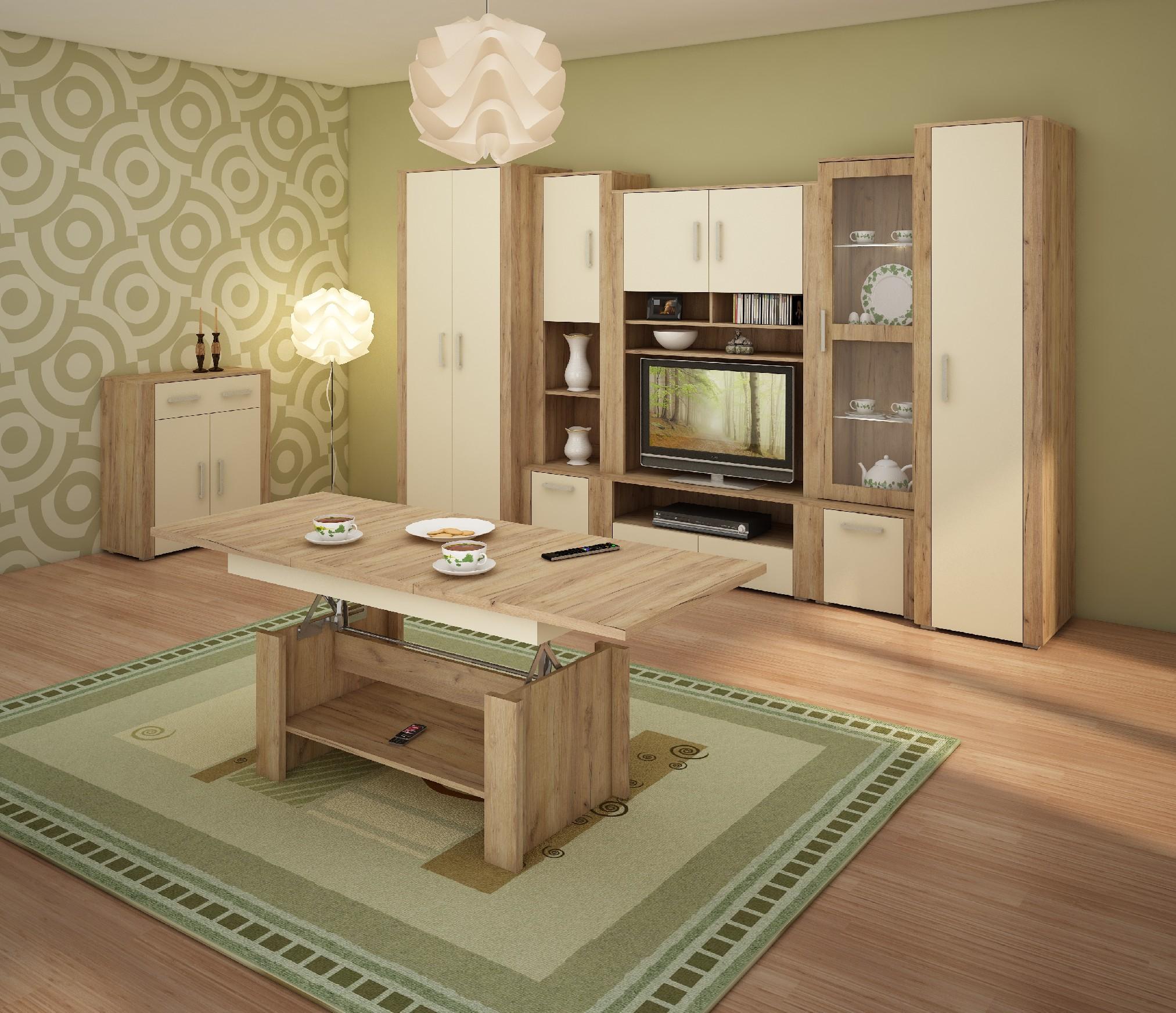 WIP Obývacia stena NOTTI 1 Farba: craft zlatý / krémová / craft zlatý