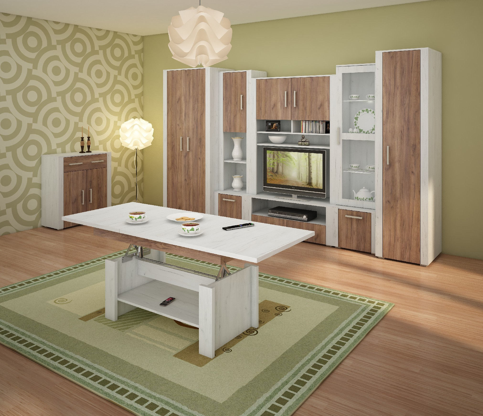 WIP Obývacia stena NOTTI 1 Farba: craft biely / craft tobaco / craft biely