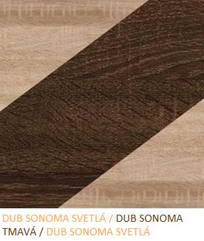 WIP Vitrína NOTTI 08 Farba: Dub sonoma svetlá / dub sonoma tmavá / dub sonoma svetlá