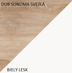 WIP Skriňa MAX 05 Farba: Dub sonoma svetlá / biely lesk