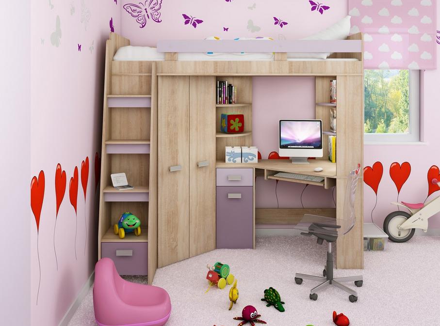 WIP Detská rohová vyvýšená posteľ ANTRESOLA sonoma/fialová Prevedenie: ľavé