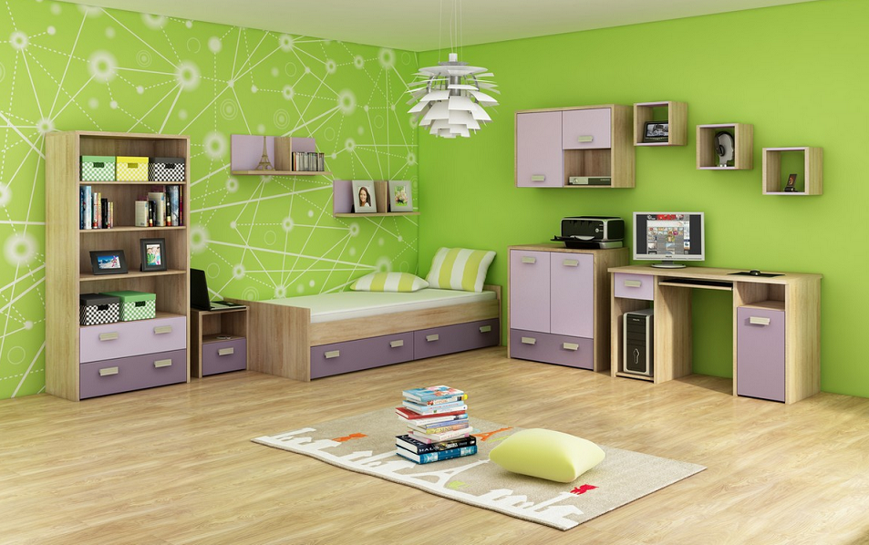 WIP Detská izba KITTY 3 Farba: Dub sonoma svetlá / levanduľa / fialová