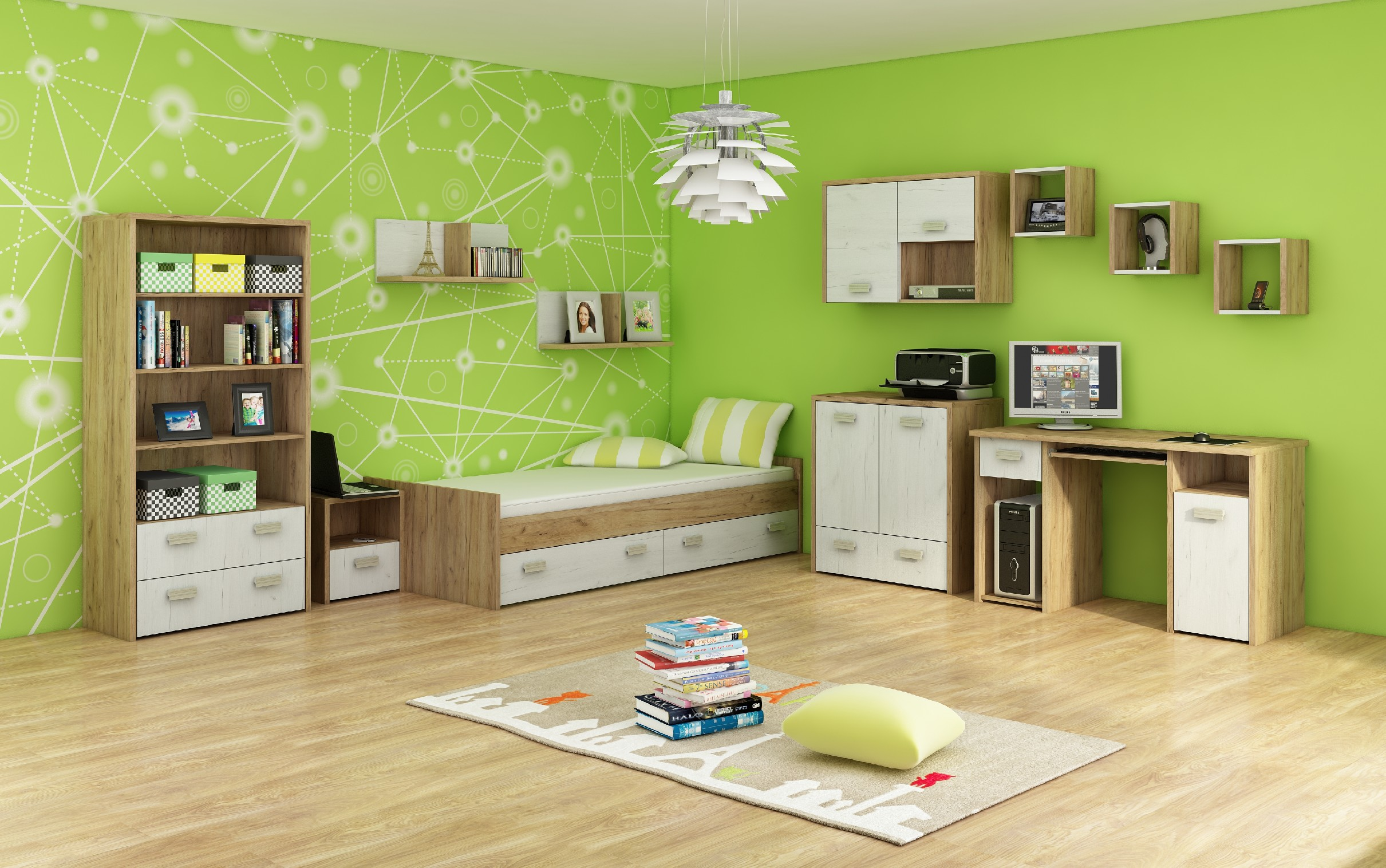 WIP Detská izba KITTY 3 Farba: craft zlatý / craft biely