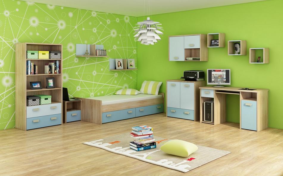 WIP Detská izba KITTY 3 Farba: Dub sonoma svetlá / blankytná / modrá