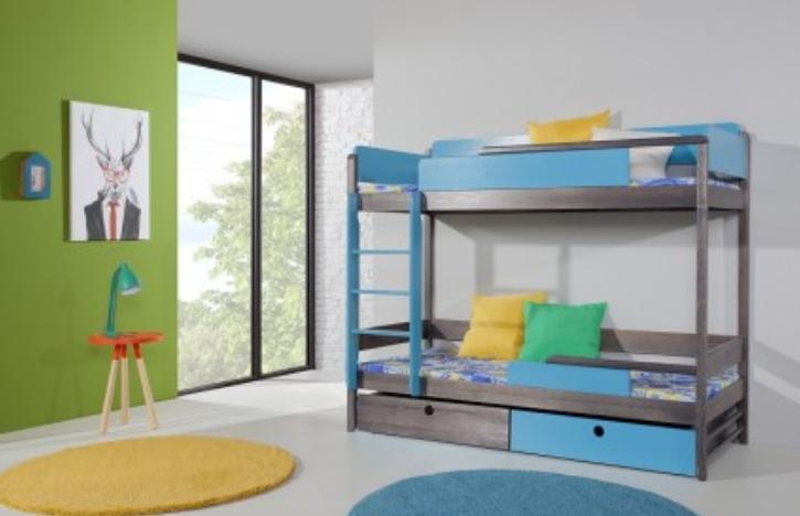 ArtBed Detská drevená poschodová posteľ NATU II Farba: Modrá