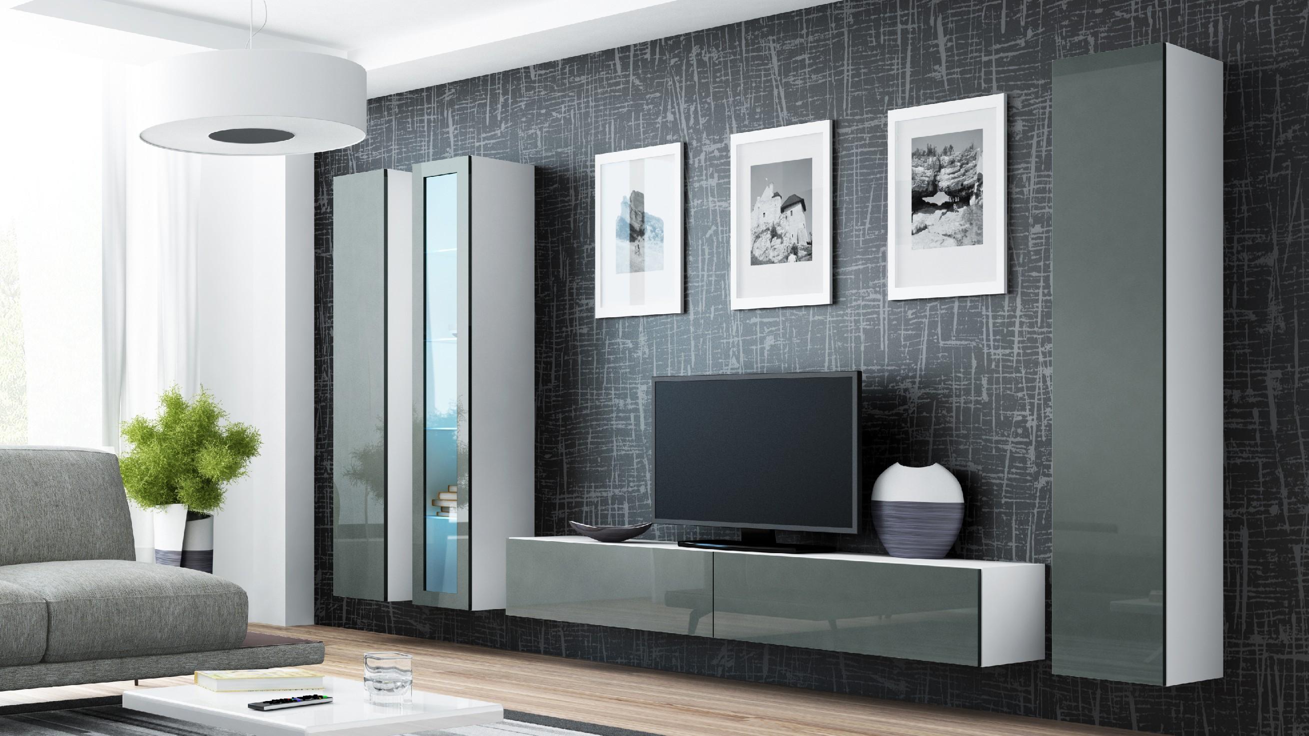 Artcam Obývacia stena VIGO II biela / sivá