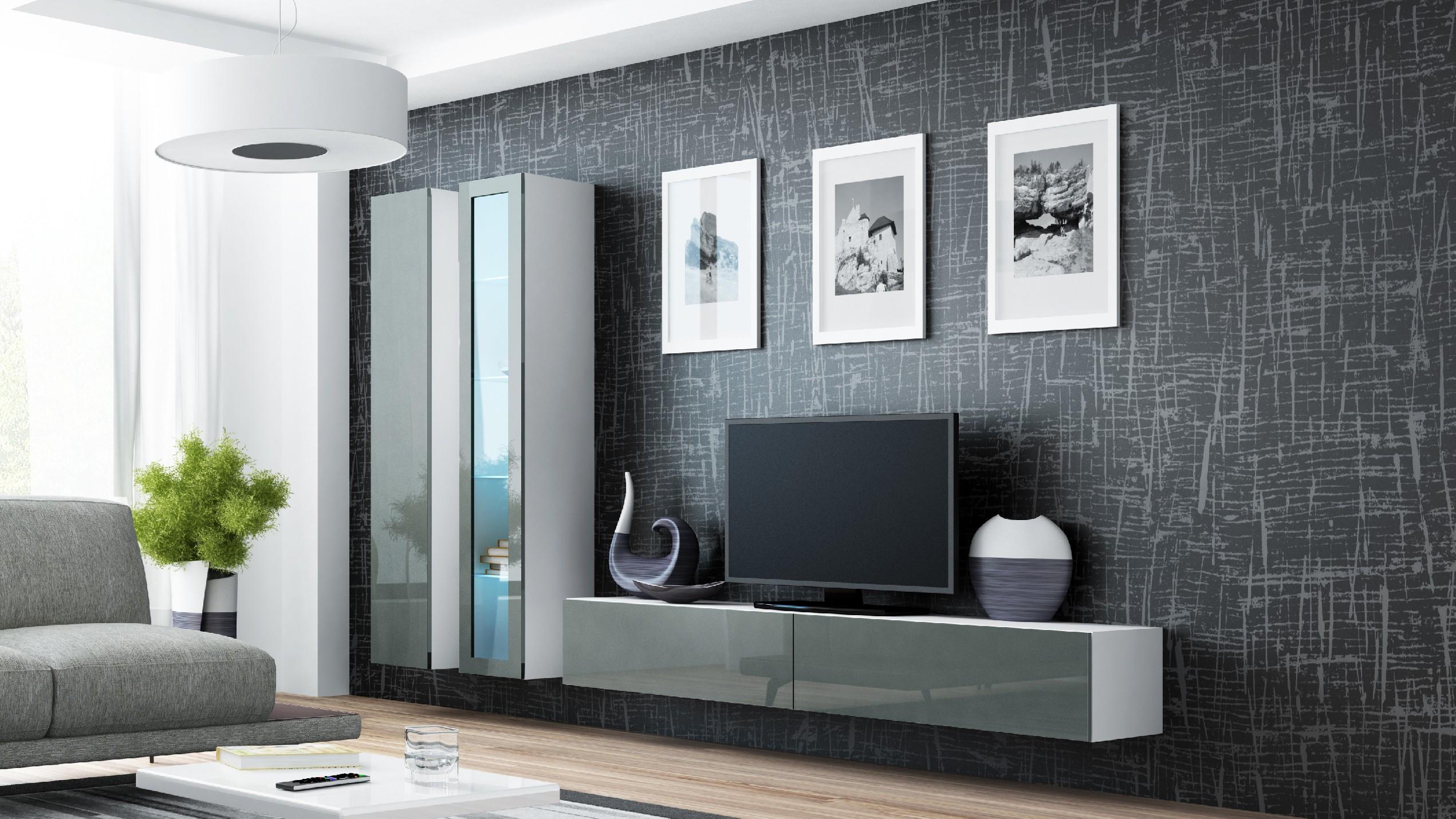 Artcam Obývacia stena VIGO III biela / sivá