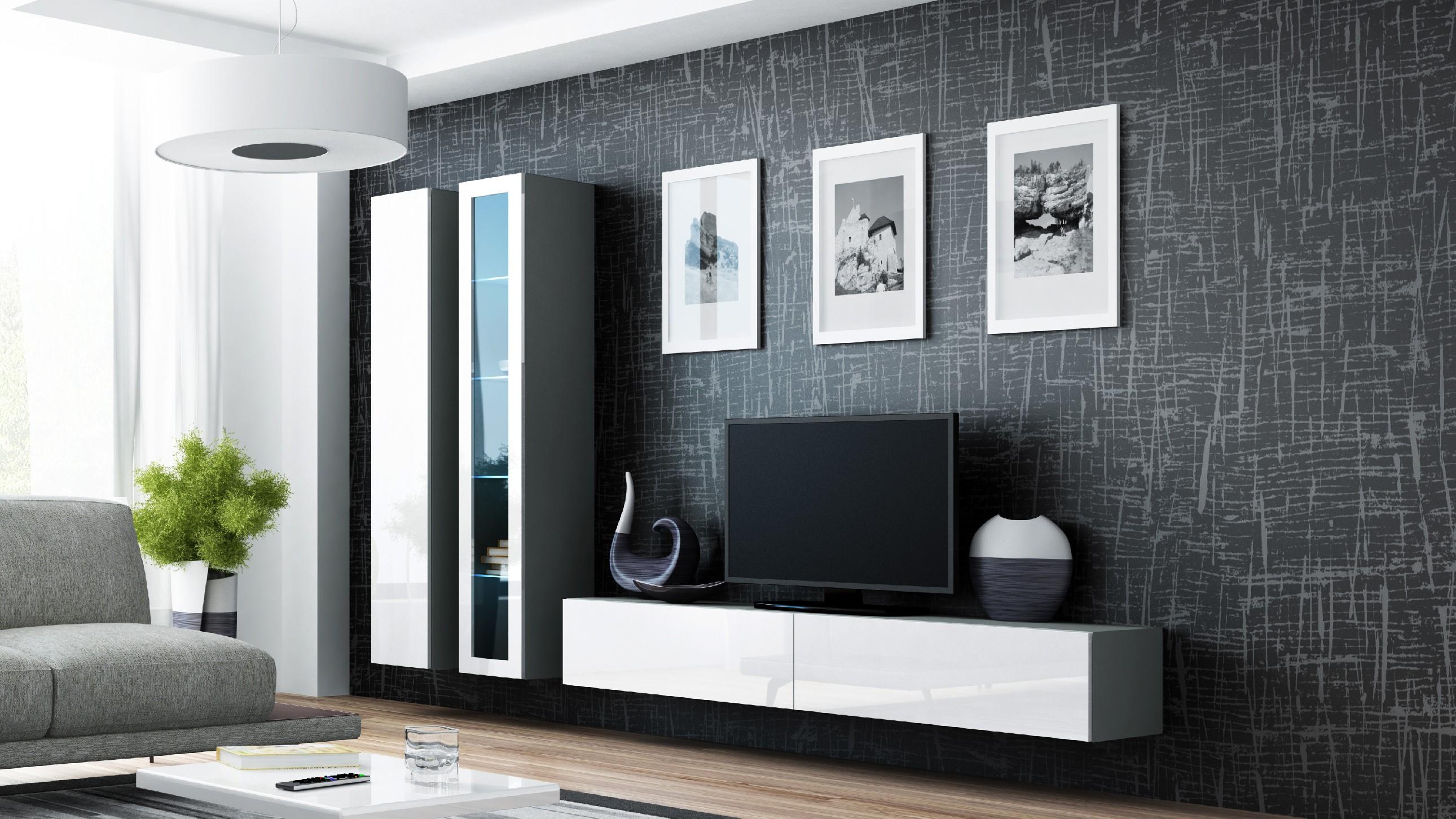 Artcam Obývacia stena VIGO III sivá / biela